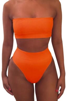 Womens Sexy Plain Bandeau Top&High Waist Bottom Bikini Set Orange