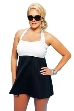 Womens Sexy Plus Size Color Block Skirted One Piece Swimsuit White