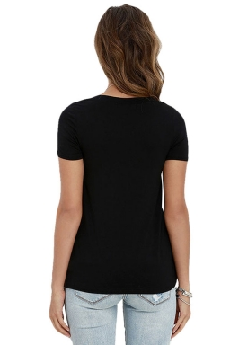 Womens Sexy Plain Lace-up V Neck Short Sleeve T Shirt Black