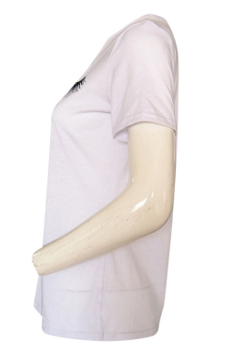 Womens Casual Eyelash and Lip Printed T Shirt White