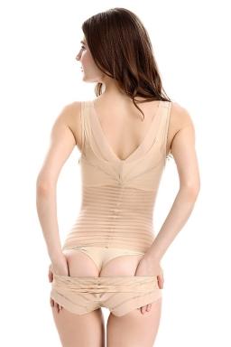 Womens Sexy Striped Body Shaper One Piece Corset Khaki