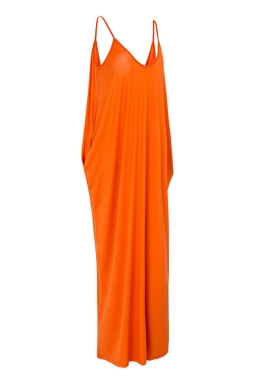 Womens Sexy Loose Spaghetti Straps Plain Maxi Dress Orange