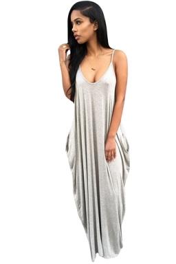 Womens Sexy Loose Spaghetti Straps Plain Maxi Dress Gray