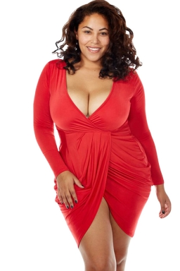 Womens Sexy Deep V Neck Ruched Long Sleeve Plus Size Dress Red