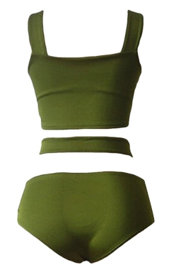 Womens Sexy Cross Bandage Bikini Top&High Waist Swimsuit Bottom Green