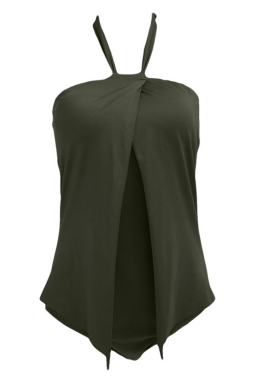 Womens Stylish Halter Plain One Piece Swimsuit Army Green