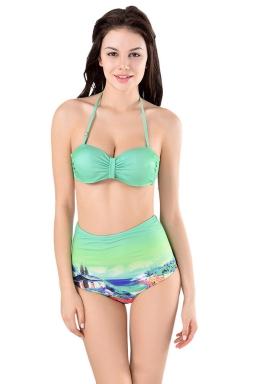 Womens Sexy Halter Top&High Waist Printed Bottom Bikini Set Turquoise