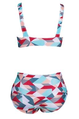 Womens Sexy Geometric Bikini Top&High Waist Swimsuit Bottom Red