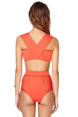 Womens Sexy Mesh Patchwork Top&High Waist Bottom Bikini Set Orange
