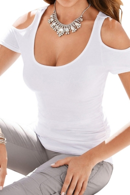 Womens Sexy Cold Shoulder Plain T Shirt White