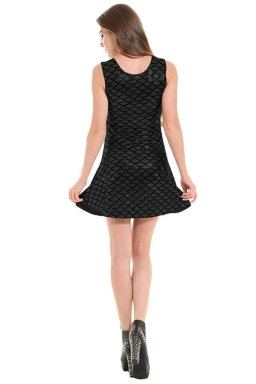 Womens Fish Scale Patterned Liquid Tank Dress Black