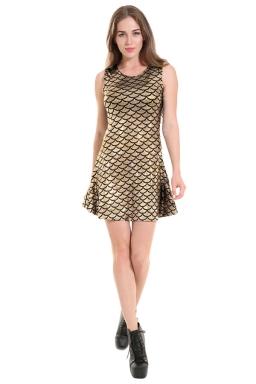 Womens Fish Scale Patterned Liquid Tank Dress Gold