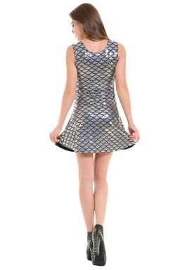 Womens Fish Scale Patterned Liquid Tank Dress Silvery