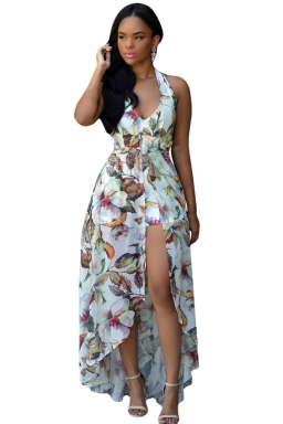 Womens Halter Floral Backless Romper with Maxi Overlay Dress White