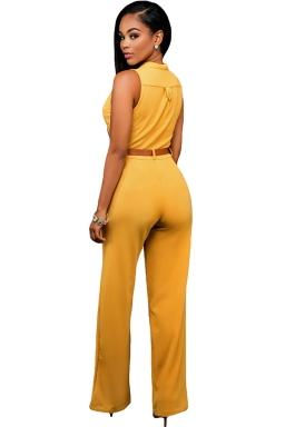Womens Elegant Sleeveless Belted Wide Leg Jumpsuit Orange