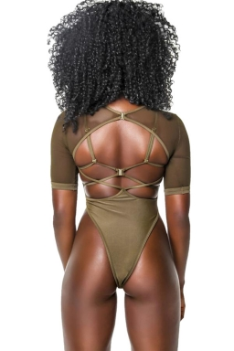 Womens Sexy See Through Strappy Back Top Two Piece Swimsuit Army Green