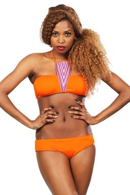 Womens Sexy Halter Bandeau Bikini Top&Swimsuit Bottom Orange