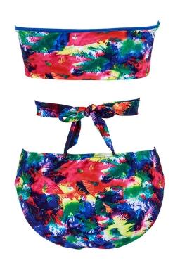 Womens Color Block Bandeau Lace-up Bikini Top&Swimsuit Bottom Green