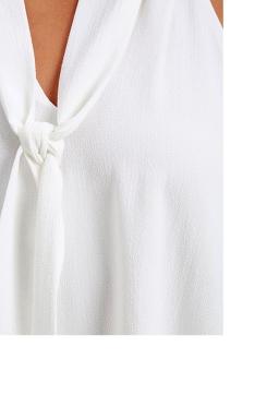 Womens Tie-neck Sleeveless Chiffon Halter Top White