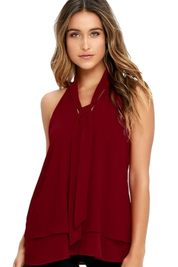 Womens Tie-neck Sleeveless Chiffon Halter Top Ruby
