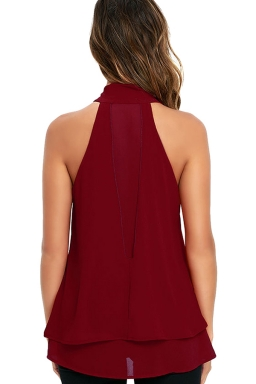 Womens Tie-neck Sleeveless Chiffon Halter Top Ruby