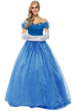 Womens Off Shoulder Cinderella Princess Halloween Costume Dress Blue
