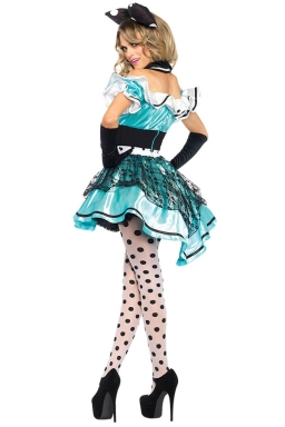 Womens Off Shoulder Ruffle Bow Alice Halloween Costume Dress Blue