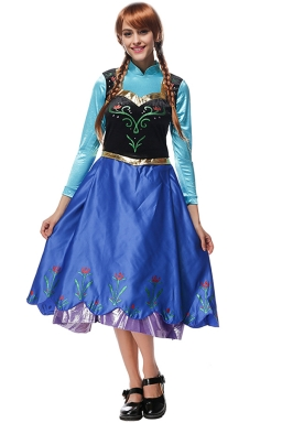 Womens Frozen Anna Elsa Halloween Dress Costume Blue