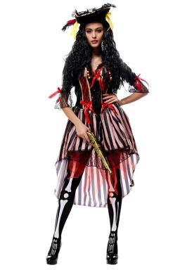 Womens Striped High Low Pirate Halloween Costume Black