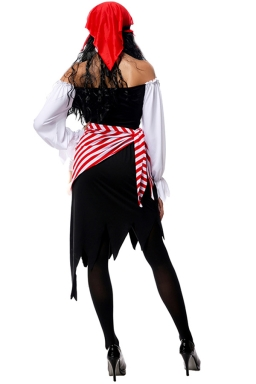 Womens Off Shoulder Irregular Pirate Halloween Costume Black
