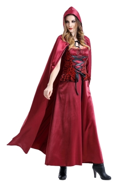 Womens Lace-up Maxi Halloween Little Red Riding-hood Costume Ruby