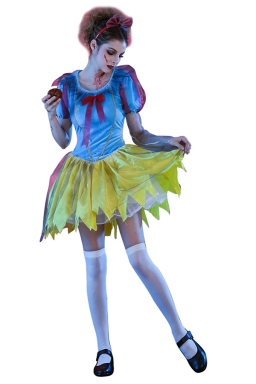Womens Halloween Snow White Zombie Princess Costume Blue