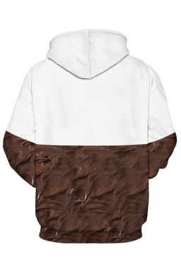 Womens Nutella Printed Long Sleeve Pocket Pullover Hoodie Chestnut