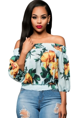 Womens Off Shoulder Floral Printed 3/4 Length Sleeve Top Yellow