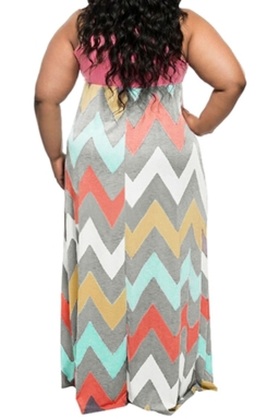 Womens Plus Size Zigzag Printed Maxi Tank Dress Pink