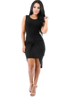 Womens Plain Knot Ruched Asymmetric Hem Tank Dress Black