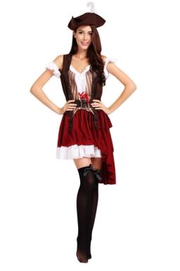 Womens Irregular Pleated Pirate Halloween Costume Ruby