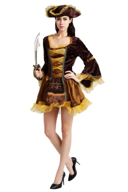 Womens Ruffled Bell Sleeve Halloween Pirate Costume Gold
