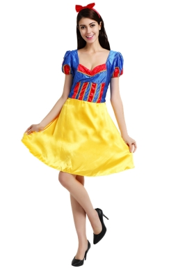 Womens Midi-length Halloween Snow White Fairytale Costume Yellow