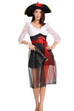 Womens Sheer Ruffled Half Sleeve Halloween Pirate Costume White