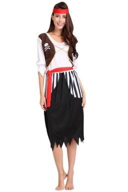 Womens Striped Midi Length Pirate Halloween Costume Black