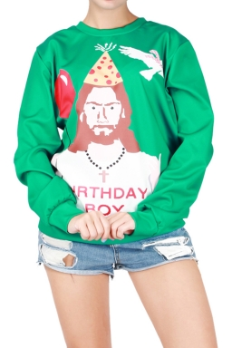Womens Round Neck Christmas Boy Printed Pullover Sweatshirt Green