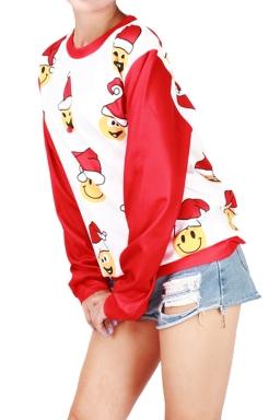 Womens Round Neck Chrisrtmas Emoji Printed Pullover Sweatshirt White