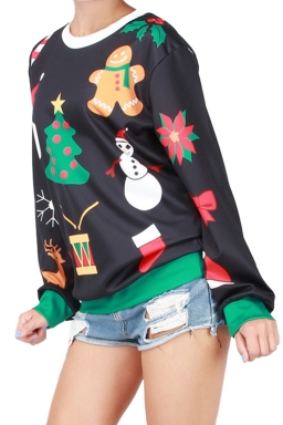 Womens Christmas Snowman Printed Pullover Sweatshirt Black