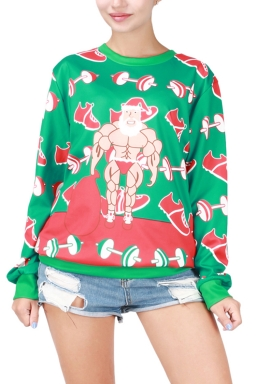 Womens Christmas Muscle Man Printed Pullover Sweatshirt Green
