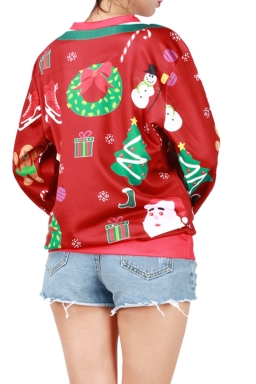 Womens Christmas Gingerbread Man Printed Pullover Sweatshirt Red