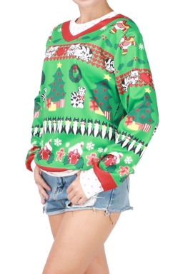Womens Christmas Tree Printed Long Sleeve Pullover Sweatshirt Green