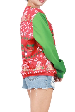 Womens Christmas Bell Printed Long Sleeve Pullover Sweatshirt Red
