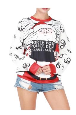 Womens Christmas Santa Printed Long Sleeve Pullover Sweatshirt White