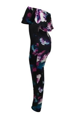 Womens Off Shoulder Ruffle Floral Printed Jumpsuit Black